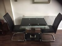Dining table and two chairs - Glass, Black, Chrome
