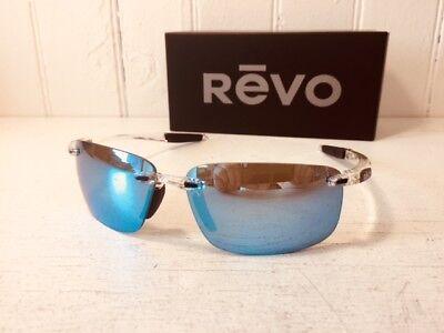 REVO RE4059 09 BL DESCEND N Crystal w/ Blue Water POLARIZED Lenses Sunglasses (Revo Blue Lens)