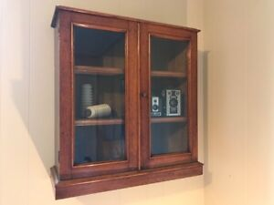 Oak Hanging Display Cabinet with lock and key