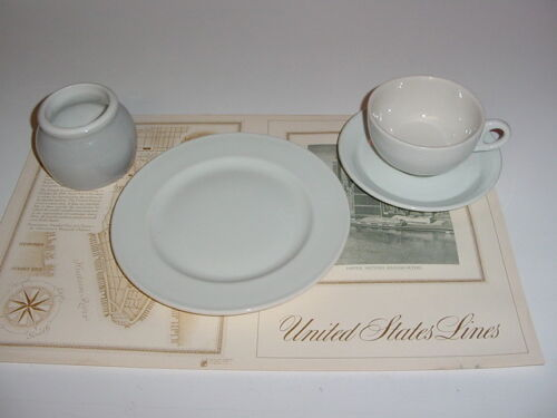 SS UNITED STATES LINES  (4) Piece Set of China  /  Top Condition