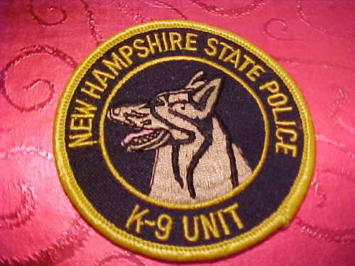 NEW HAMPSHIRE STATE POLICE K-9 POLICE PATCH SHOULDER SIZE UNUSED 3 X 3