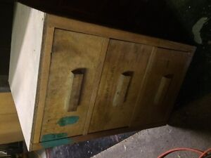 antique wooden 2 drawer file cabinet