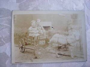 1929 Photo of Marjorie and Billy Benson in Goat Cart ~ Wagon ~ Indiana Harbor