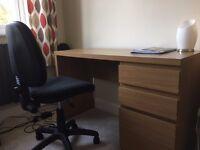 Oak effect desk and office chair