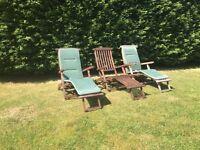 3 X Garden Solid Wooden Steamer Chair/Sun Loungers