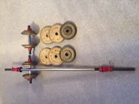 Barbell and dumbbell weight set