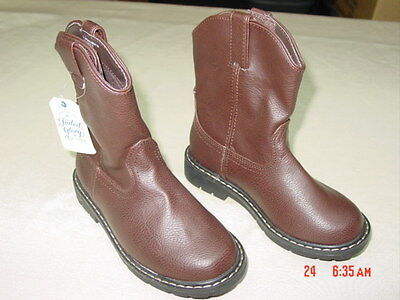 Cowboy Boots For Boys (NWT Children Boy Pull on Cowboy Boots New Unused Brown Casual Footwear for)