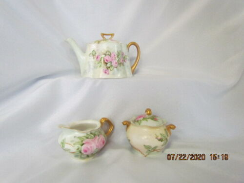 Bavaria Z. S. & C Rose Painted Teapot, Creamer, and Covered  Sugar signed