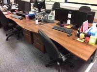 Walnut desk and drawers