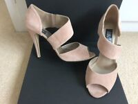 Womens Nude/Blush Pink Suede Heeled Shoes