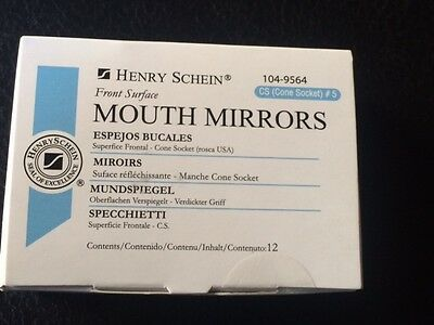 Dental Henry Schein Mouth Mirror Front Surface Cone Socket 5 12box Miltex