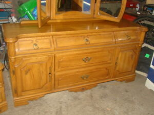 Oak dresser with mirror and bedside table( just reduced)