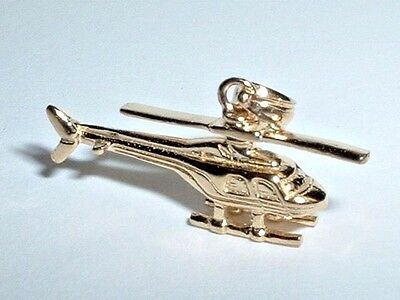 14k YELLOW GOLD 3D MOVEABLE HELICOPTER PENDANT CHARM