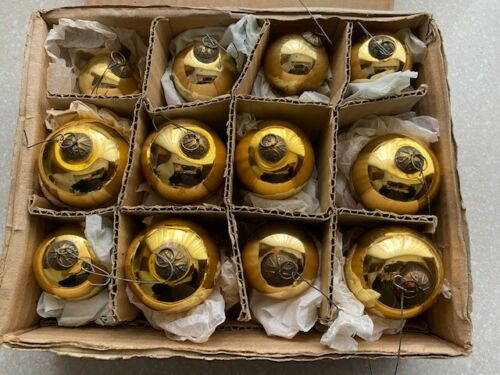 Rare Antique Kugel - Set of 12 - Gold Christmas Ornaments