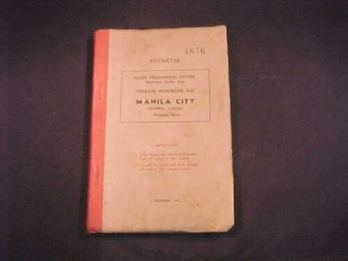 WW2 Restricted Manila Allied Geographical Section Terrain Handbook 1944