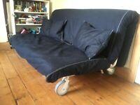 Dark blue (denim) Ikea Lycksele Lovas PS sofa bed