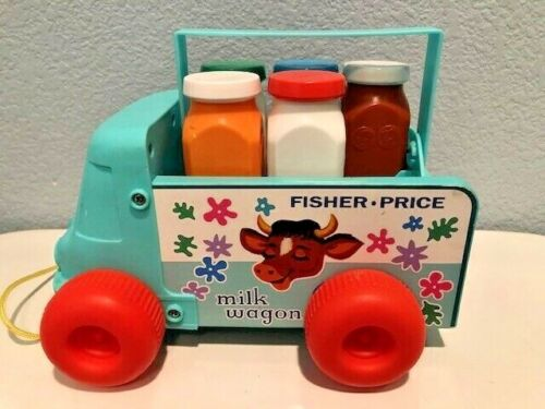 Fisher Price Milk Truck Wagon Pull Toy 2010 Reproduction