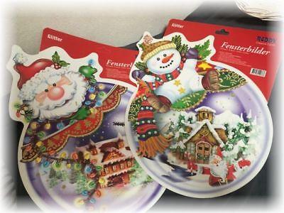 2 Fensterbilder Weihnachten* Kugel Reddy Creative Cards selbstklebend Glitter