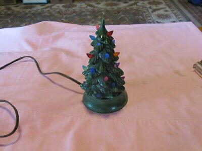 "Vintage Christmas Ceramic Light Up Christmas Tree 7"" signed H M"