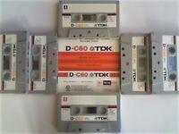 JL VARIOUS TDK D CASSETTE TAPES WITH LABELS CARDS CASES. SINGLE OR JOB LOT OFFERS. D60 D90 D120 D180