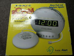 Alarm Clock Sonic Boom Wake Up Alert Loud Bed Vibrating Dual Dimmer Lights New