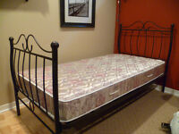 LIT SIMPLE Black Metal head/foot board plus mattress TWIN BED