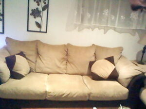 micro fibre brown and tan couch