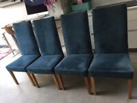Set of 4 Good Quality High Backed upholstered Dining Chairs, Petrol Blue, Beech legs, v comfortable.