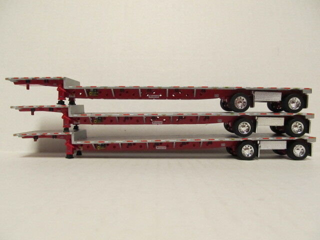 3   DCP 1/64 SCALE TRANSCRAFT STEP DECK TRAILERS  SILVER DECK WITH RED FRAME 1
