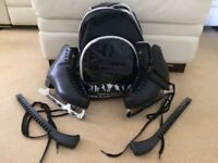 Black Unisex Graf 500 Ice Skates - Perfect Condition - With Bag & Guards Size 37 (UK shoe size 4.5)