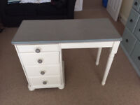 Shabby chic cream and grey small desk or dressing table