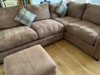 3 seat left hand facing corner sofa and storage footstool (DFS)