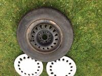 "Mk1 Golf CITI original 13"" steel rims, great tyres original whel trims, set £69"
