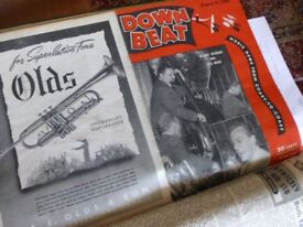 Downbeat Magazines from mid 1944 to end 1945. 35 copies bound in hard cover