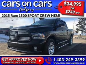 2015 Ram 1500 DODGE SPORT CREW HEMI w/Leather, BackUp Cam, Navi