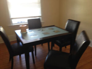 Dark wood table• frosted glass top Cambridge Kitchener Area image 1