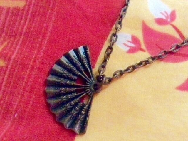 New Copper Long Necklace With Intricate Fan Pendant