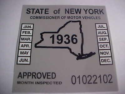 new york 1936 inspection sticker windshild model t / street rod