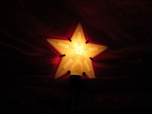 Antique Light Up Christmas Tree Star Topper Plastic Frame White & Red