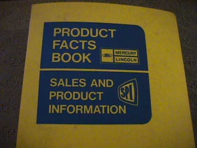 SCARCE 1975 MERCURY AND LINCOLN  PRODUCT FACTS BOOK