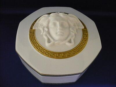 Large Rosenthal Versace  Medusa Octagonal Trinket Box, Gorgona Patt