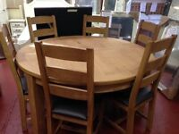 New Salisbury Erne Oak Large Thick Round Dining Table with 6 Chairs Only £899 IN STOCK NOW