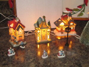 Christmas village houses with lights London Ontario image 2