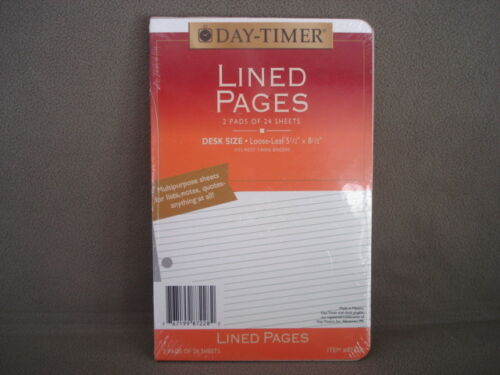Organizer Refill DayTimer Lined Pages NEW  Item number 87228