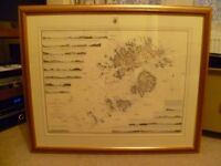 "Framed Print of Chart - ""A Survey of the Scilly Isles by Grame Spence 1792""."