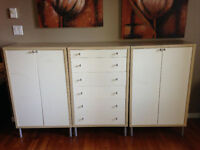 IKEA set of 3 (1 drawer chest and 2 cabinets with shelves)