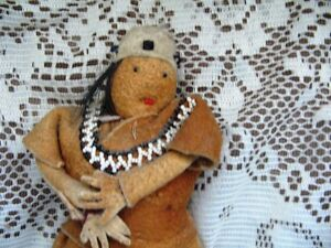"11"" NATIVE ABORIGINAL OLD WOMAN LEATHER DOLL,HANDS,BEADED,MOCCS"
