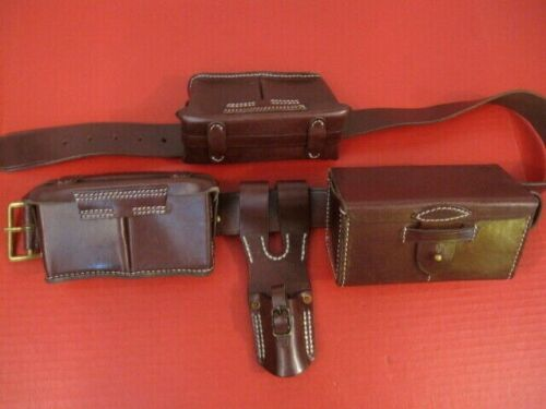 """WWII Japanese Type 30 Assault Leather Ammo Boxes, Frog & Belt w/36"""" Waist  Repro"""