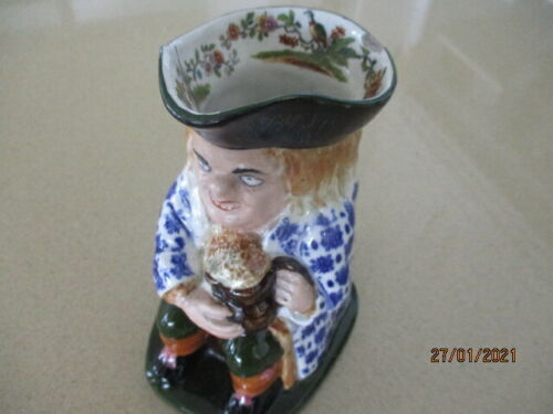 Antique 16cm Tall Toby Jug with Base Mark and Internal Decoration to Hat