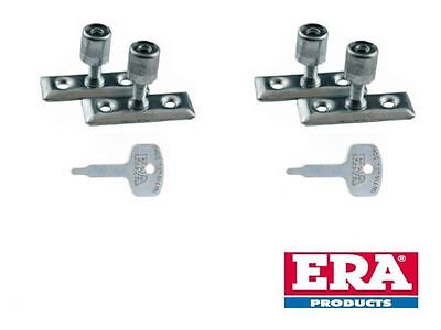 ERA 4x WINDOW STAY LOCKS FOR CASEMENT STAY PIN LOCKING WITH ONE KEY IN SATIN NEW